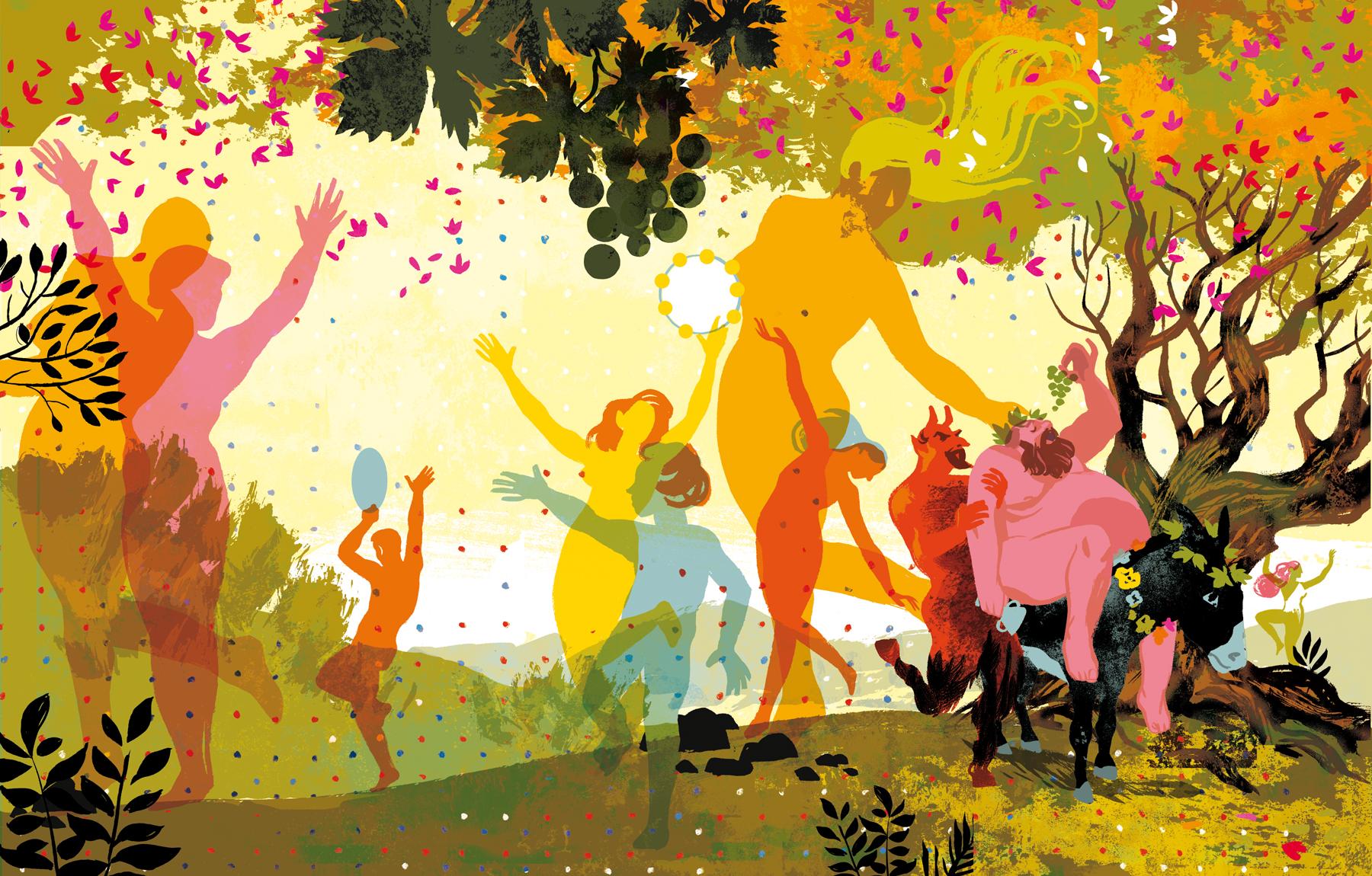 illustration de Olivier Balez - groupe de personnes dansant au milieu d'arbres