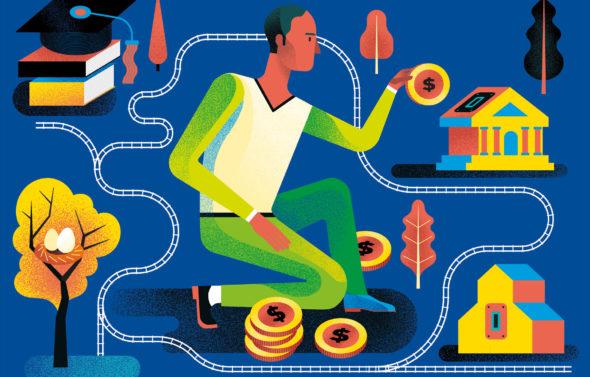 illustration de Gwen Keraval homme mettant des pièces de monnaie dans une tirelire