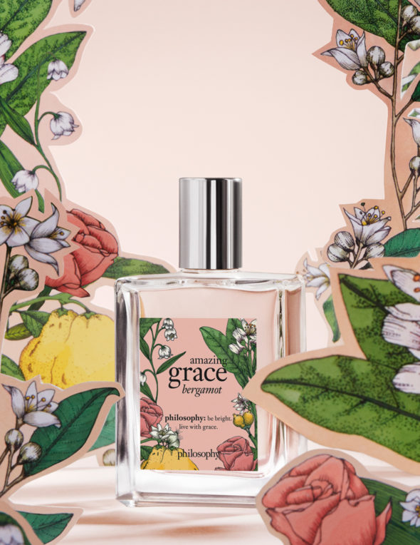 Packaging parfum Amazing Grace - Illustration © Bomocœur - Agence Patricia Lucas